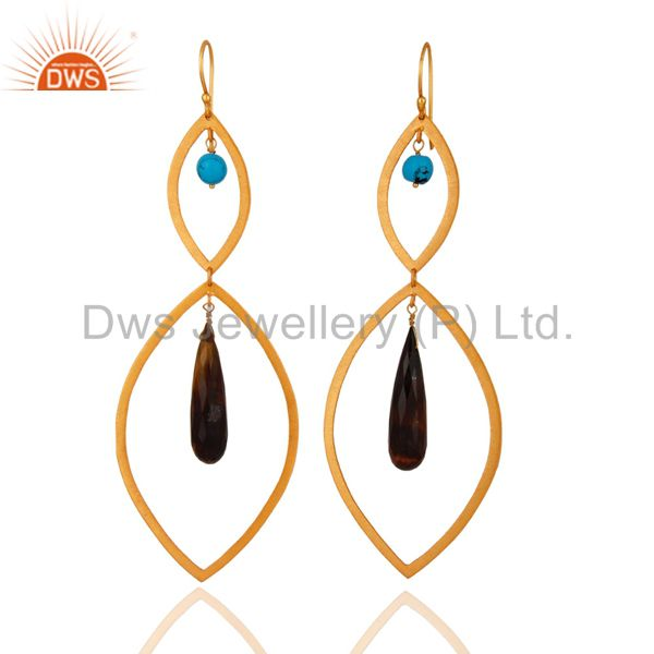 18K Gold Plated 925 Sterling Silver Faceted Tiger Eye Gemstone Drop Earrings