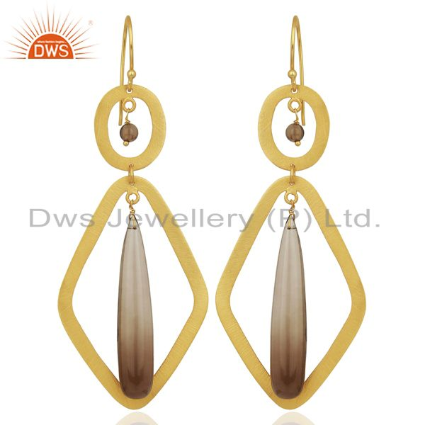 Smoky Quartz Gemstone Gold Plated Fashion Earring Supplier