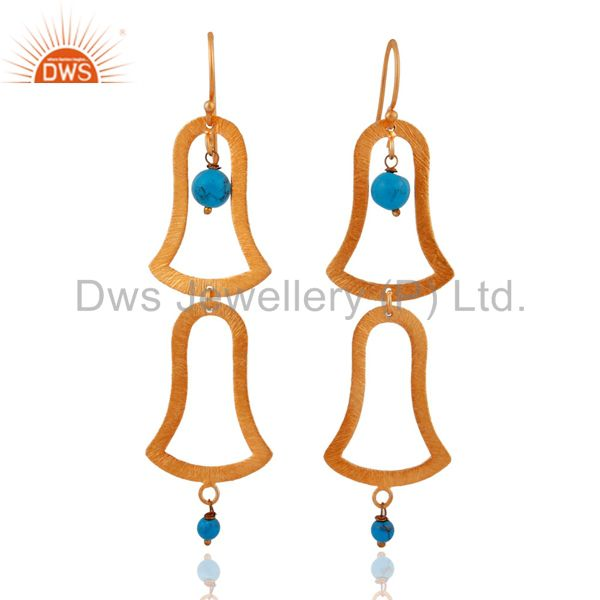 18kt Gold Plated Handcrafted Sterling Silver Turquoise Matte Finish Earrings