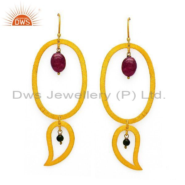 24K Yellow Gold Plated Sterling Silver Pink Tourmaline Designer Dangle Earrings