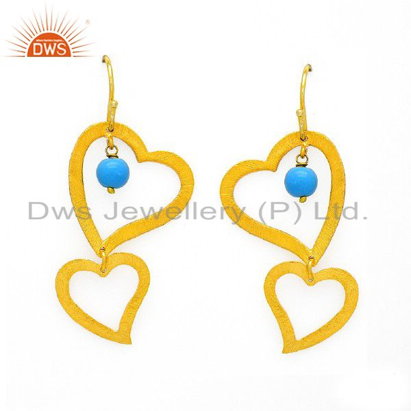 24K Yellow Gold Plated Sterling Silver Turquoise Heart Designer Dangle Earrings