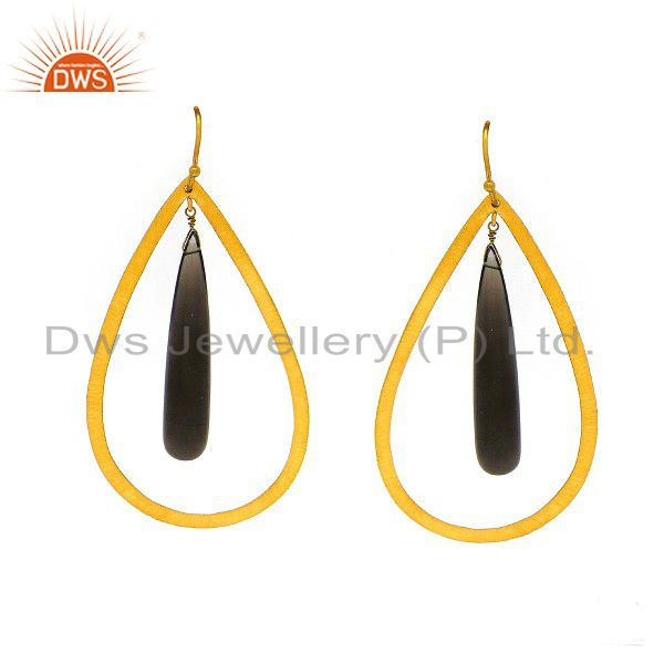 18K Yellow Gold Plated Sterling Silver Smoky Quartz Gemstone Drop Earrings