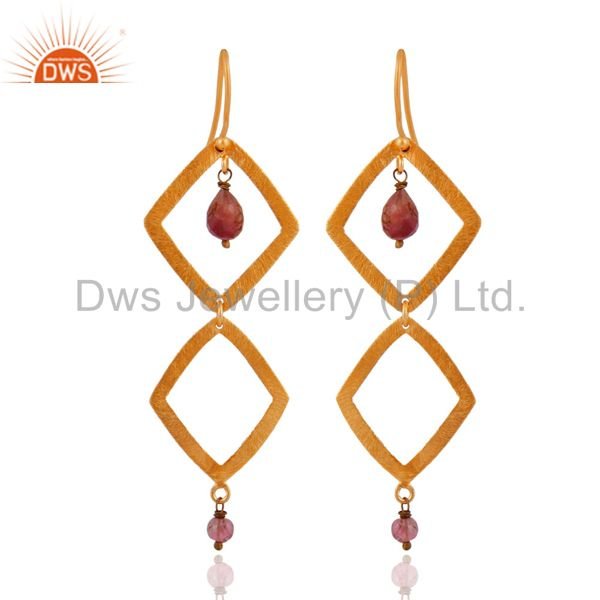 925 Sterling Silver 24K Gold Plated Brushed Tourmaline Gemstone Dangle Earrings