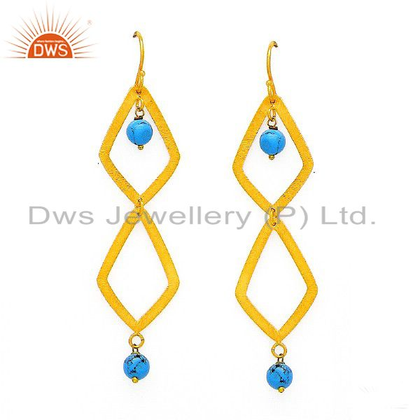 Brushed 18K Yellow Gold Plated Sterling Silver Turquoise Dangle Earrings