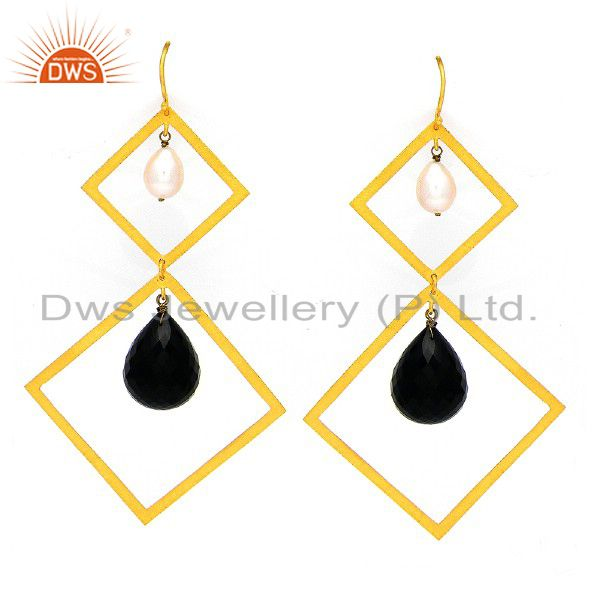 22K Yellow Gold Plated Sterling Silver Black onyx And Pearl Dangle Earrings