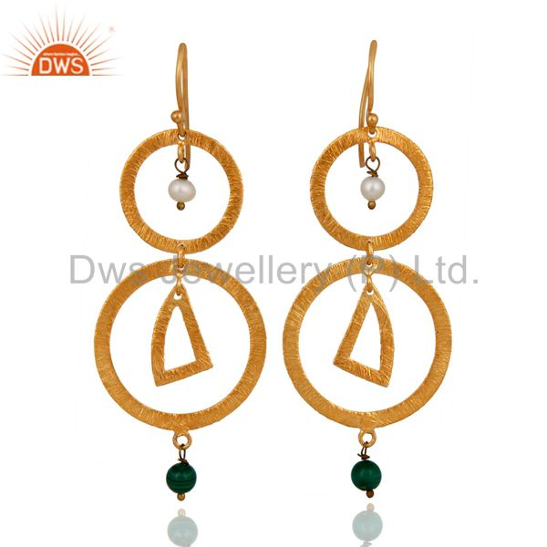 925 Sterling Silver Malachite Gemstone Gold Plated Designer Earrings