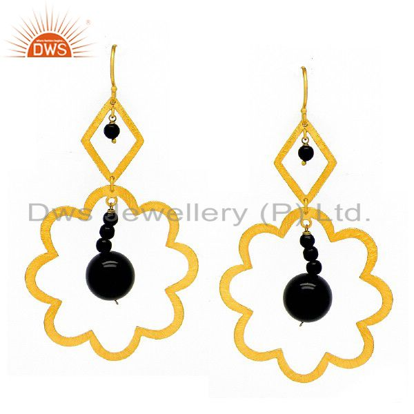 22K Yellow Gold Plated Sterling Silver Black Onyx Gemstone Beads Dangle Earrings