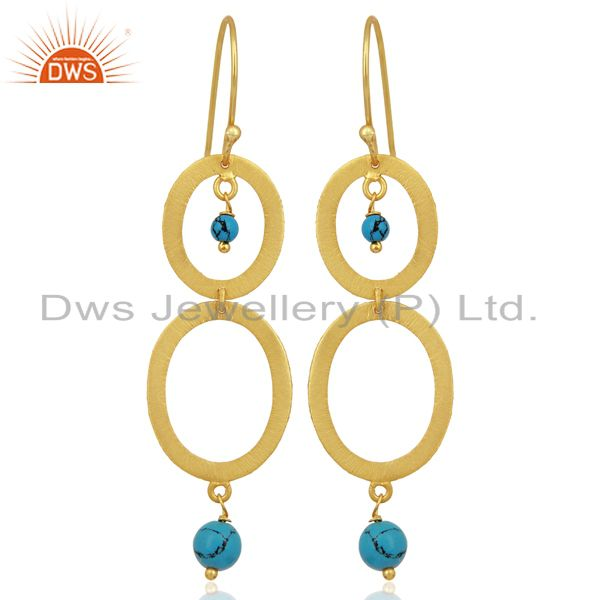 Brushed 22K Yellow Gold Plated Sterling Silver Turquoise Gemstone Dangle Earring