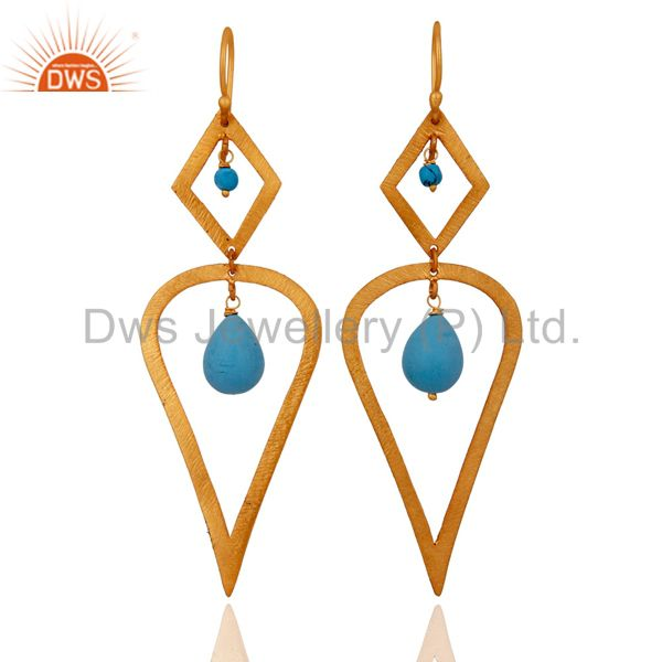 Designer Turquoise Gemstone 925 Sterling Silver 22k Gold Plated Dangle Earrings