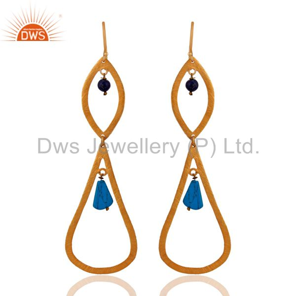 22k Plated Gold Pear 925 Sterling Silver Turquoise Gemstone Beads Earrings