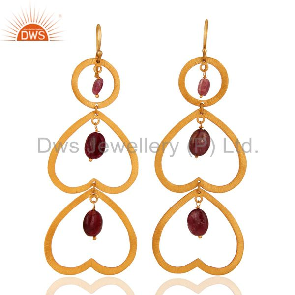 Unique Designer Tourmaline Gemstone Gold Plated Over Sterling Silver 925 Earring