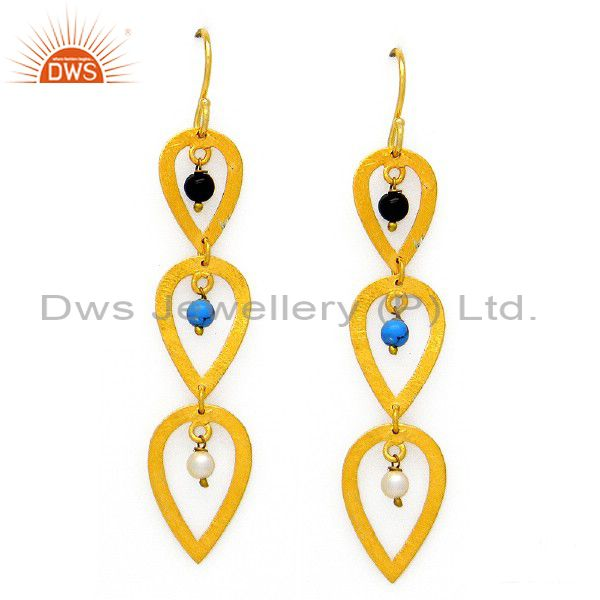24K Yellow Gold Plated Sterling Silver Turquoise And Pearl Teardrop Earrings