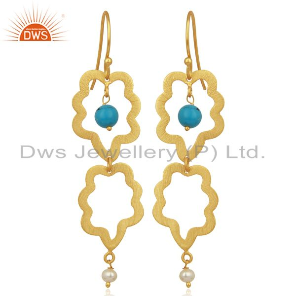 24K Yellow Gold Plated Sterling Silver Turquoise And Pearl Dangle Earrings