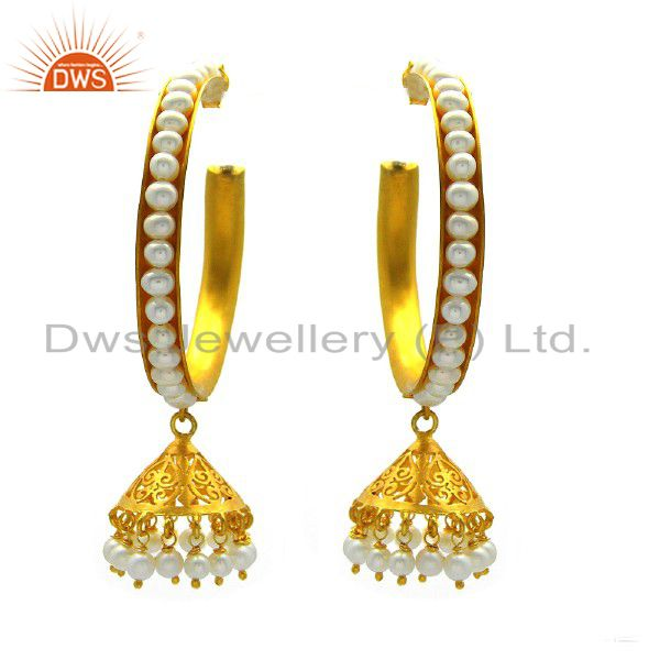 22K Yellow Gold Plated Sterling Silver White Pearl Ethnic Designer Hoop Earrings