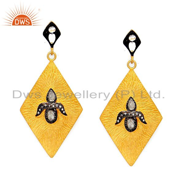 22K Yellow Gold Plated Sterling Silver Crystal Quartz Womens Fashion Earrings