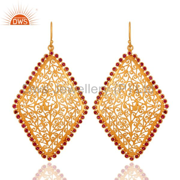 24K Gold Plated 925 Sterling Silver Filigree Design Earring With Ruby Gemstone