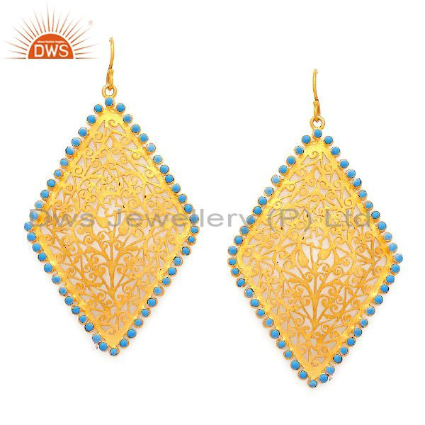 Handmade Sterling Silver Turquoise Filigree Dangle Earrings With 24K Gold Plated