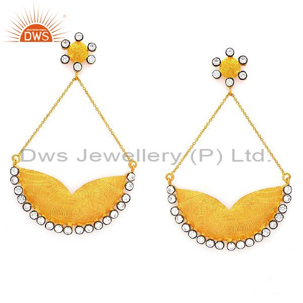 22K Yellow Gold Plated Sterling Silver Cubic Zirconia Ladies Fashion Earrings