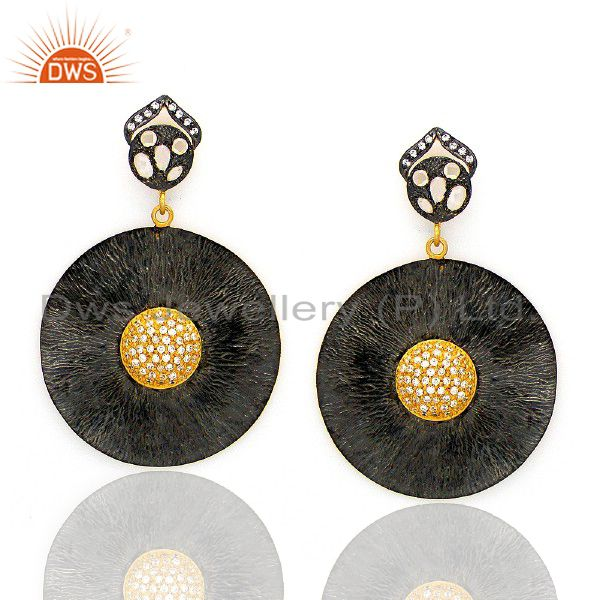 Oxidized And 18K Gold Plated Brass Cubic Zirconia Disc Fashion Dangle Earrings