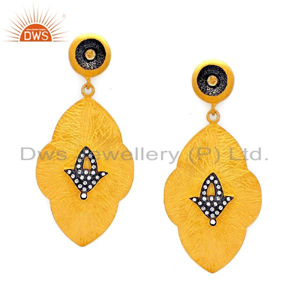 Designer 18K Yellow Gold Plated Sterling Silver Cubic Zirconia Dangle Earrings