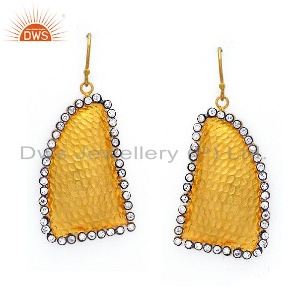 22K Yellow Gold Plated Sterling Silver Cubic Zirconia Hammered Dangle Earrings