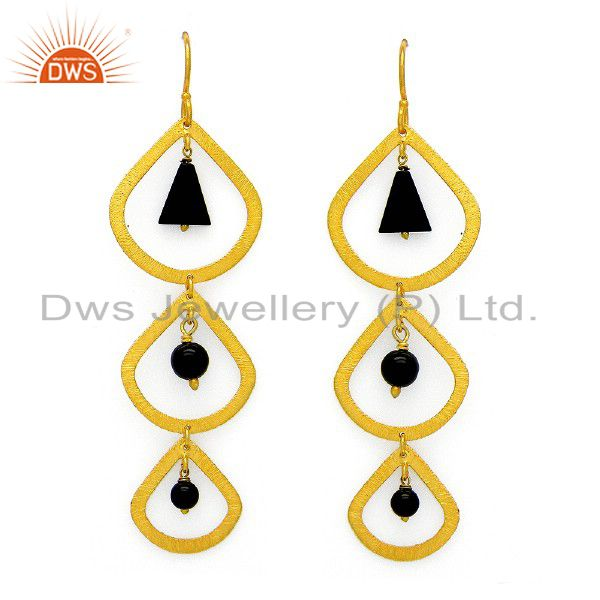 24K Yellow Gold Plated Sterling Silver Black Onyx Gemstone Dangle Earrings