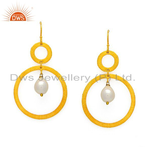 22K Yellow Gold Plated Sterling Silver Natural Pearl Circle Dangle Earrings