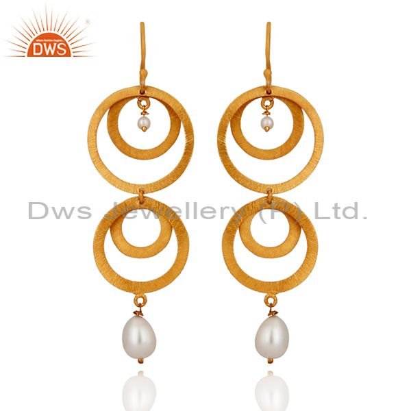 Handmade 24k Gold Plated 925 Sterling Silver Round Cirecle Designer Earrings
