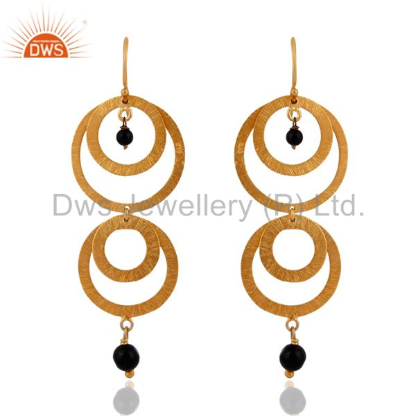 24k Gold over Sterling Silver With Brushed Multi Circle Earrings With Black Onyx