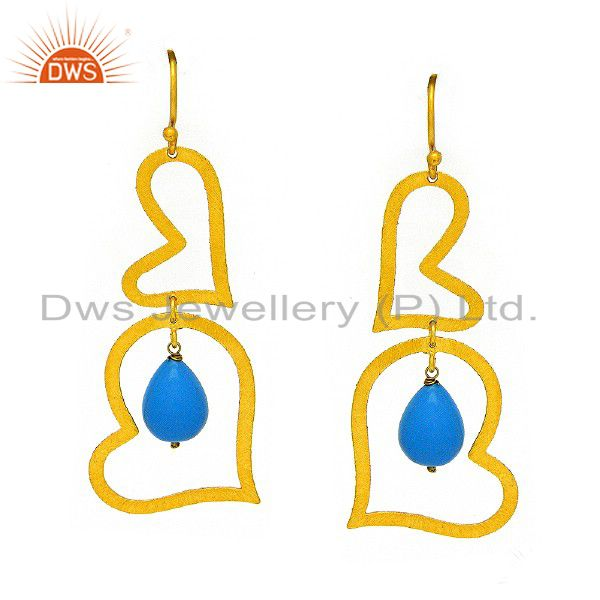 Brushed 22K Gold Plated Sterling Silver Turquoise Heart Designer Dangle Earrings