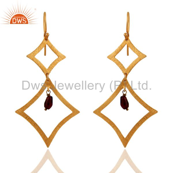 925 Sterling Silver Garnet Gemstone Brushed 24Karat Gold Plated Dangle Earrings