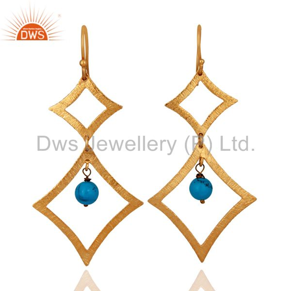 Handmade Turquoise Gemstone 18K Yellow Gold Plated Sterling Silver Earrings