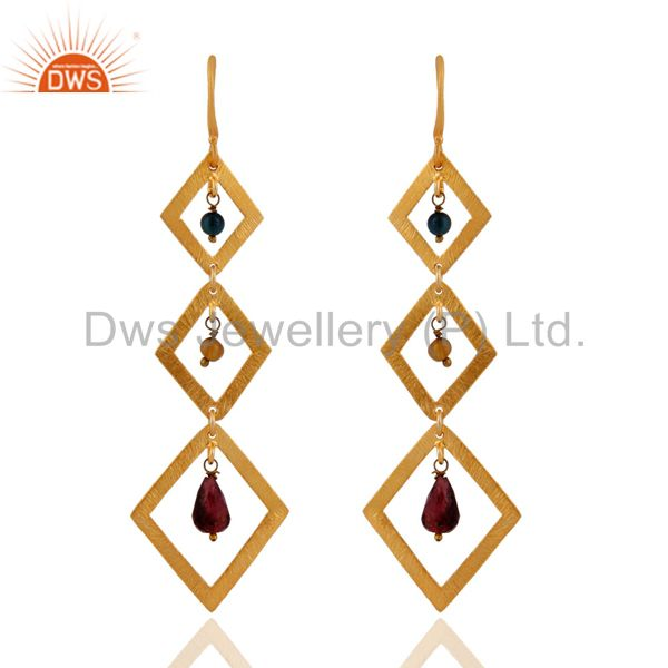 Handmade 925 Sterling Silver Brushed 14k Gold Plated Tourmaline Gemstone Earring