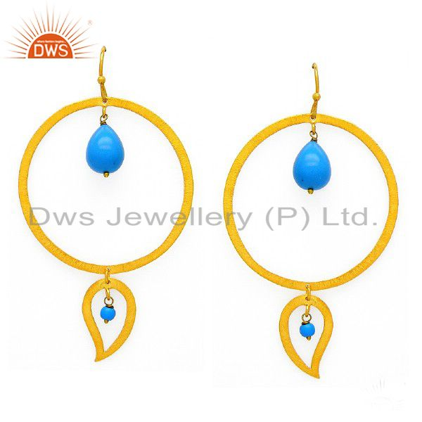 Brushed 22K Gold Plated Sterling Silver Turquoise Circle Teardrop Earrings