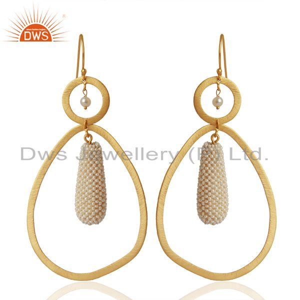 Natural Pearl Gemstone Gold Plated 925 Silver Handmade Earrings