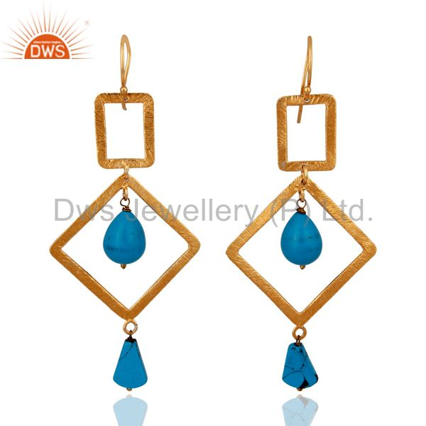 18k Gold Plated Brushed Finish 925 Sterling Silver Turquoise Gemstone Earrings