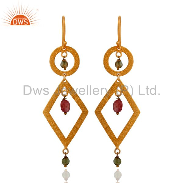 Natural Tourmaline Gemstone Earrings IN 24K Gold Plated On 925 Silver Jewelry