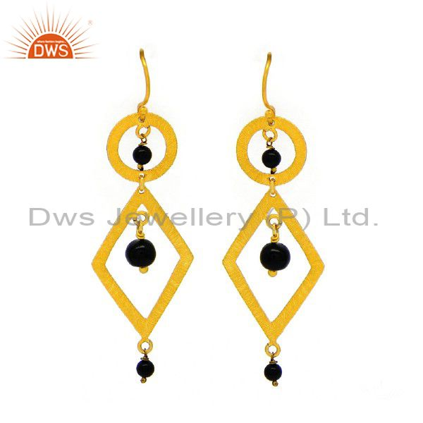 Handmade Black Onyx Gemstone Sterling Silver Gold Plated Classic Hook Earrings