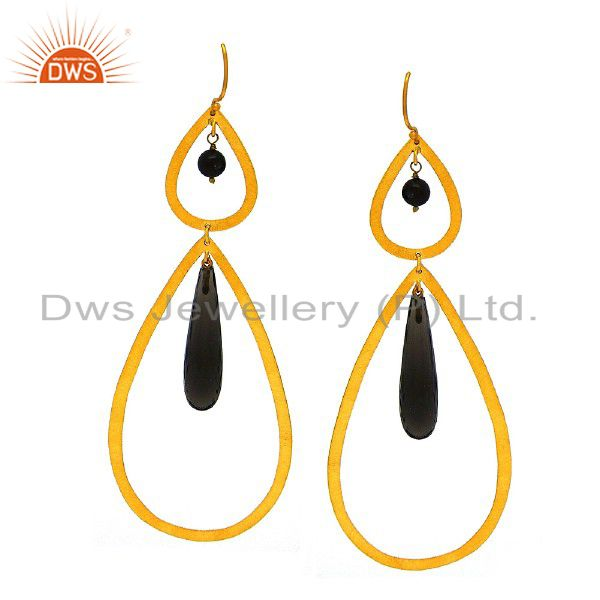 Brushed Finish 22K Gold Plated Sterling Silver Smoky Quartz Teardrop Earrings