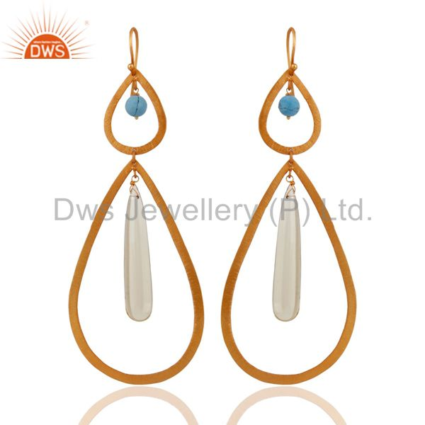 Designer 925 Sterling Silver Lemon Topaz Drop Gold Plated Long Dangle Earrings