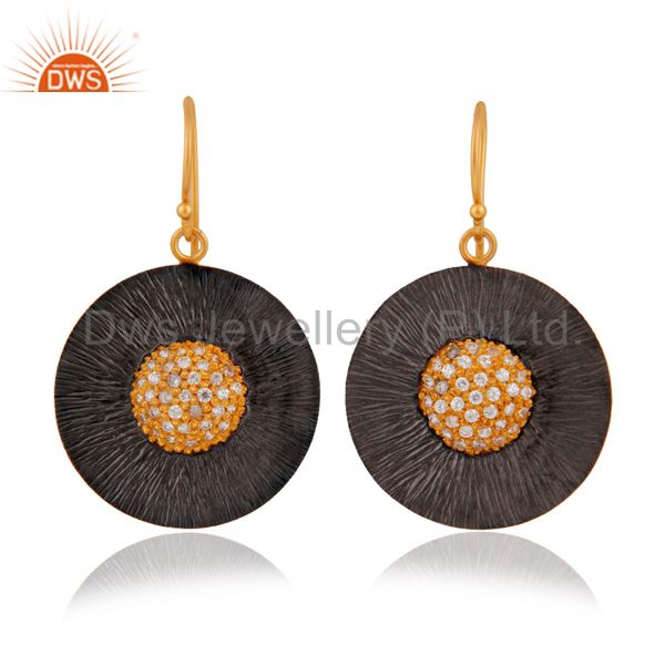 Yellow Gold Plated 925 Sterling SIlver Cubic Zirconia Disc Design Earrings