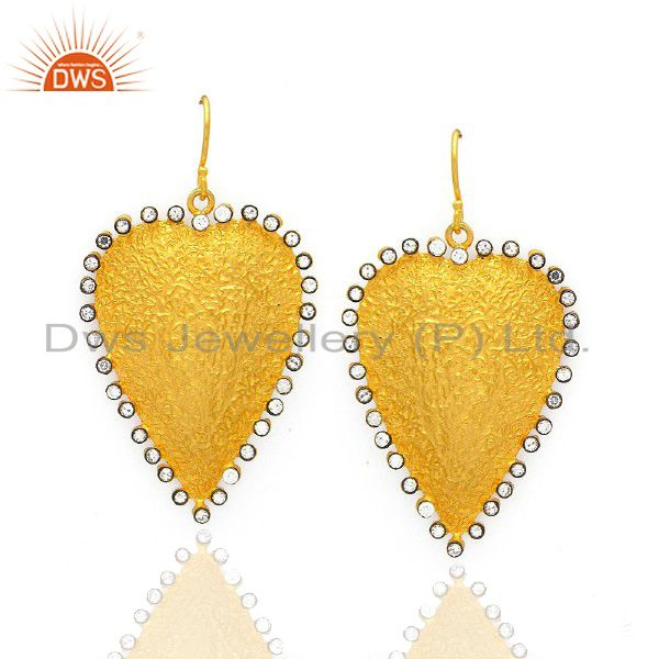 22K Yellow Gold Plated Sterling Silver Cubic Zirconia Heart Designer Earrings
