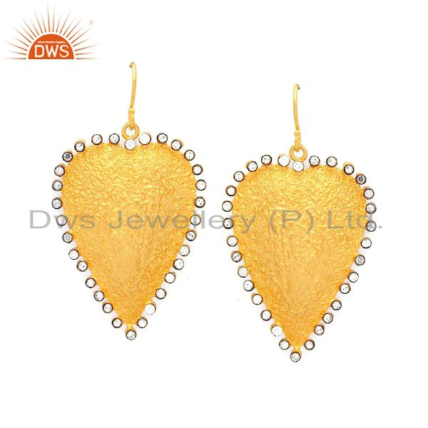 22K Yellow Gold Plated Sterling Silver Hammered Heart Dangle Earrings With CZ