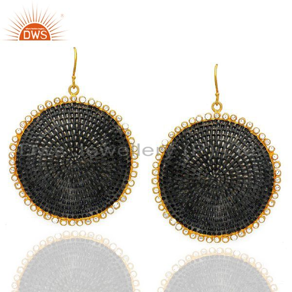 22K Gold Plated And Oxidized Brass Hammered Disc Dangle Earrings With CZ