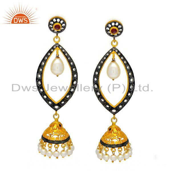 22K Gold Plated Sterling Silver Tourmaline And Pearl Jhumka Earrings With CZ