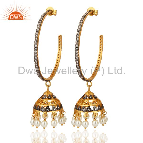 18K Gold Plated 925 Sterling Silver Pearl & White Zircon Fashion Jhumka Earrings