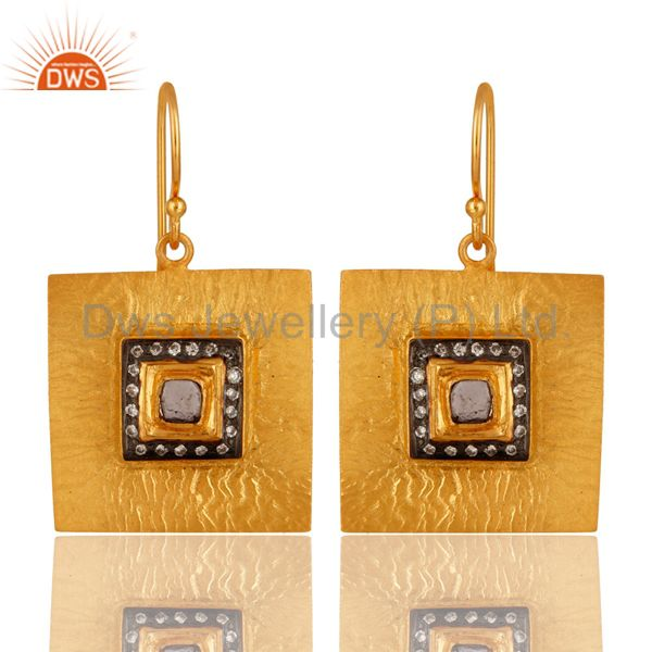 Hammered 18K Yellow Gold Plated Sterling Silver Tourmaline And CZ Earrings