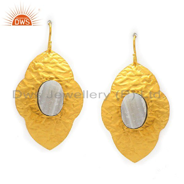 Handmade Sterling Silver White Agate Designer Earrings With Yellow Gold Plated