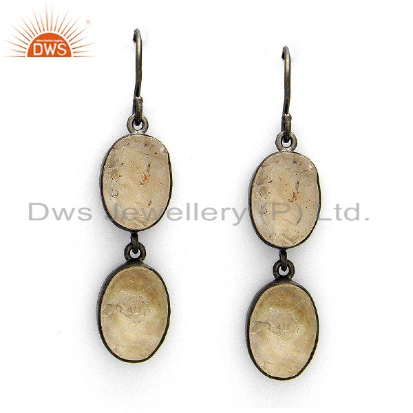 Handmade Raw Crystal Quartz Bezel Set Dangle Earring In Oxidized Sterling Silver