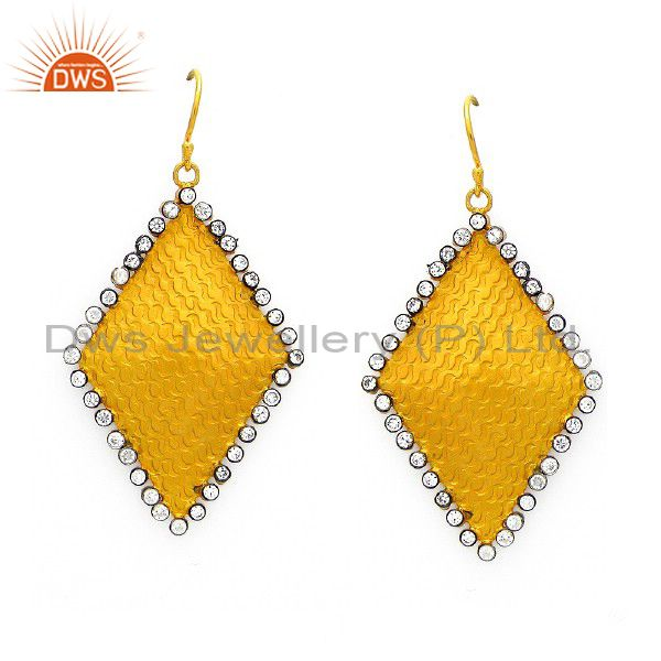 22K Gold Plated Sterling Silver Hammered Dangle Earrings With Cubic Zirconia